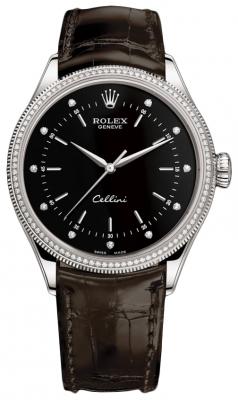 Rolex Cellini Time 39mm 50609rbr Black Diamond Brown Strap