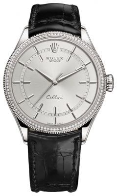 Rolex Cellini Time 39mm 50609rbr Rhodium Black Strap