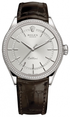 Rolex Cellini Time 39mm 50609rbr Rhodium Brown Strap