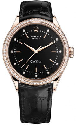 Rolex Cellini Time 39mm 50705rbr Black Diamond Black Strap