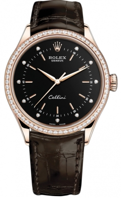 Rolex Cellini Time 39mm 50705rbr Black Diamond Brown Strap