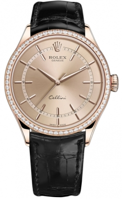 Rolex Cellini Time 39mm 50705rbr Pink Black Strap