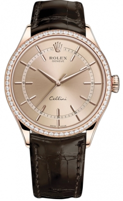 Rolex Cellini Time 39mm 50705rbr Pink Brown Strap