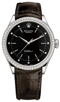 Rolex Cellini Time 39mm 50709rbr Black Diamond Brown Strap