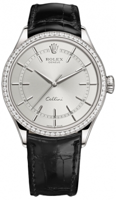 Rolex Cellini Time 39mm 50709rbr Rhodium Black Strap