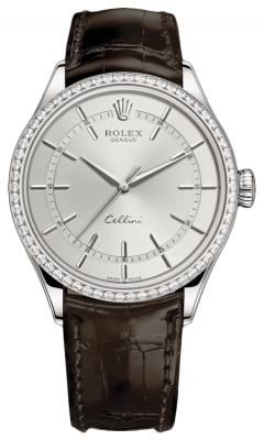 Rolex Cellini Time 39mm 50709rbr Rhodium Brown Strap