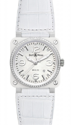 Bell & Ross BR03-92 Automatic 42mm BR03-92 White Ceramic Diamonds Alligator