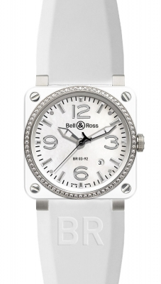 Bell & Ross BR03-92 Automatic 42mm BR03-92 White Ceramic Diamonds Rubber
