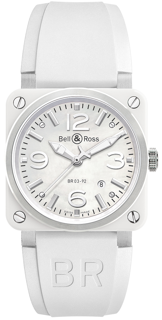 8d8d576db BR03-92 White Ceramic Rubber Bell & Ross BR03-92 Automatic 42mm Mens ...
