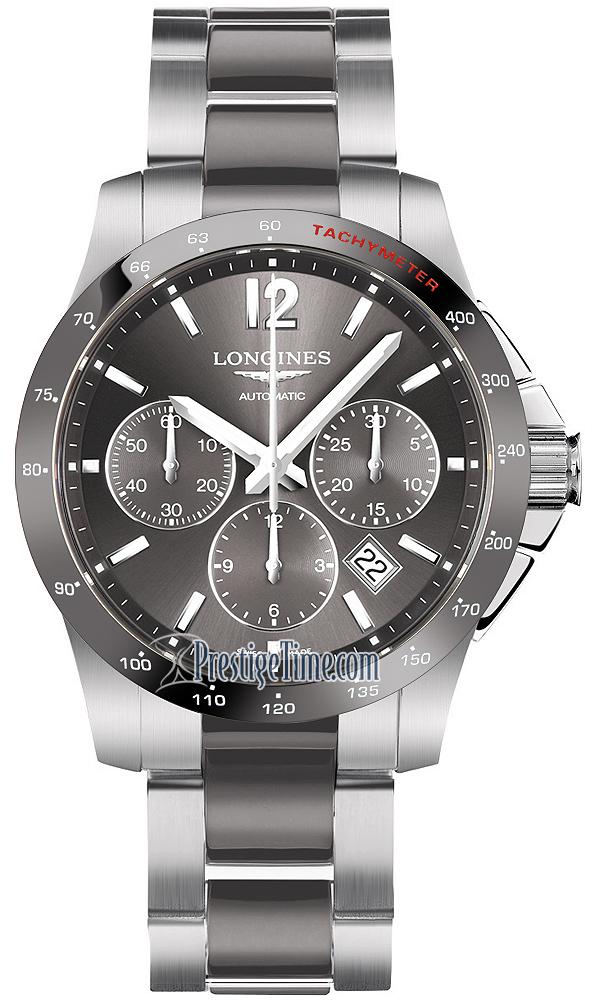 Longines Hydroconquest Automatic >> L2.744.4.06.7 Longines Conquest Automatic Chronograph 41mm Mens Watch