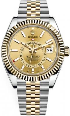 Rolex Sky Dweller 42mm 326933 Champagne Index Jubilee
