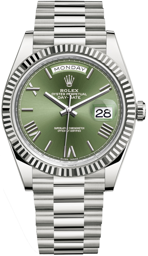 Rolex Day Date 40mm White Gold 228239 Olive Green Roman