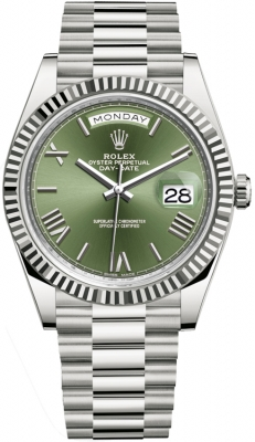 Rolex Day-Date 40mm White Gold 228239 Olive Green Roman