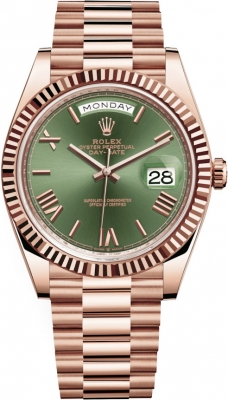 Rolex Day-Date 40mm Everose Gold 228235 Olive Green Roman