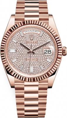 Rolex Day-Date 40mm Everose Gold 228235 Pave Baguette