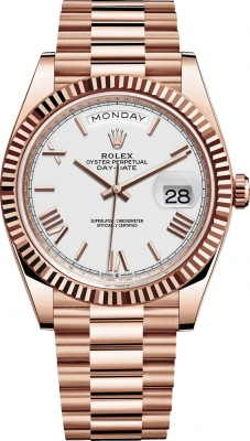 Rolex Day-Date 40mm Everose Gold 228235 White Roman