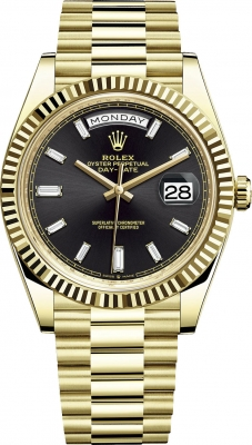 Rolex Day-Date 40mm Yellow Gold 228238 Black Baguette