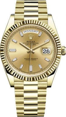 Rolex Day-Date 40mm Yellow Gold 228238 Champagne Baguette