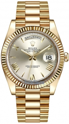 Rolex Day-Date 40mm Yellow Gold 228238 Silver Roman