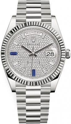 Rolex Day-Date 40mm White Gold 228239 Pave Baguette