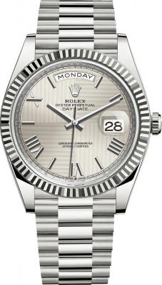 Rolex Day-Date 40mm White Gold 228239 Silver Roman