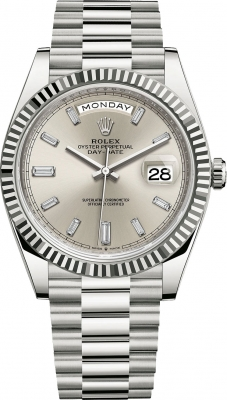 Rolex Day-Date 40mm White Gold 228239 Silver Baguette