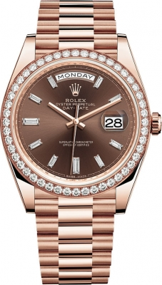Rolex Day-Date 40mm Everose Gold 228345RBR Chocolate Baguette Index