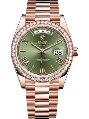Rolex Day-Date 40mm Everose Gold 228345RBR Olive Green Roman