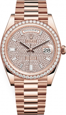 Rolex Day-Date 40mm Everose Gold 228345RBR Pave Baguette