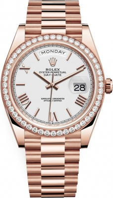 Rolex Day-Date 40mm Everose Gold 228345RBR White Roman