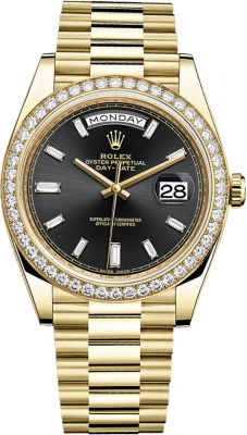 Rolex Day-Date 40mm Yellow Gold 228348RBR Black Baguette