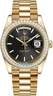 Rolex Day-Date 40mm Yellow Gold 228348RBR Black Diagonal Index