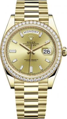 Rolex Day-Date 40mm Yellow Gold 228348RBR Champagne Baguette