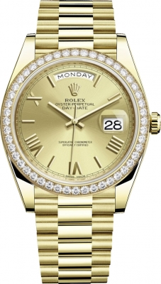 Rolex Day-Date 40mm Yellow Gold 228348RBR Champagne Roman