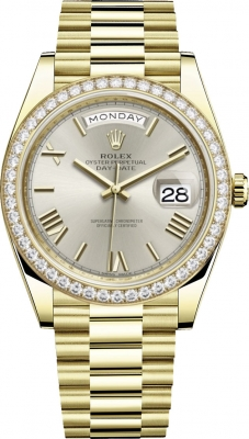 Rolex Day-Date 40mm Yellow Gold 228348RBR Silver Roman