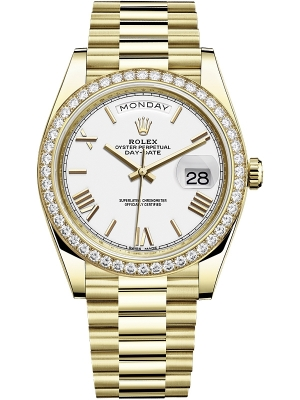 Rolex Day-Date 40mm Yellow Gold 228348RBR White Roman