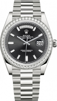 Rolex Day-Date 40mm White Gold 228349RBR Black Baguette