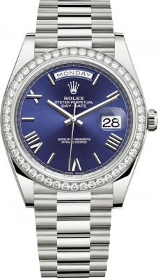 Rolex Day-Date 40mm White Gold 228349RBR Blue Roman