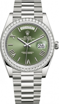 Rolex Day-Date 40mm White Gold 228349RBR Olive Green Roman