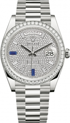 Rolex Day-Date 40mm White Gold 228349RBR Pave Baguette