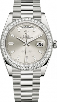 Rolex Day-Date 40mm White Gold 228349RBR Silver Baguette