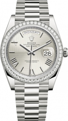 Rolex Day-Date 40mm White Gold 228349RBR Silver Roman