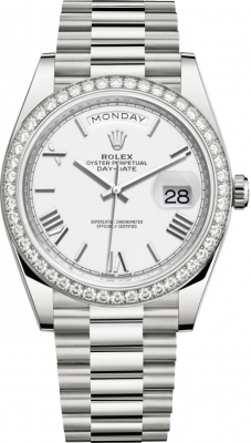 Rolex Day-Date 40mm White Gold 228349RBR White Roman