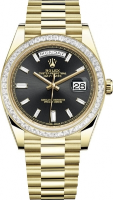 Rolex Day-Date 40mm Yellow Gold 228398TBR Black Baguette