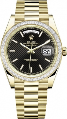 Rolex Day-Date 40mm Yellow Gold 228398TBR Black Diagonal Index