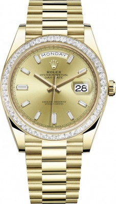 Rolex Day-Date 40mm Yellow Gold 228398TBR Champagne Baguette