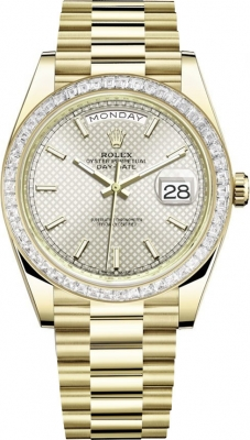 Rolex Day-Date 40mm Yellow Gold 228398TBR Silver Diagonal Index