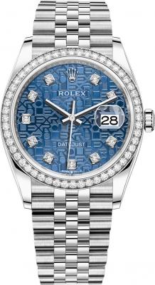 Rolex Datejust 36mm Stainless Steel 126284rbr Jubilee Blue Diamond Jubilee