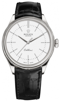 Rolex Cellini Time 39mm 50509 White Black Strap