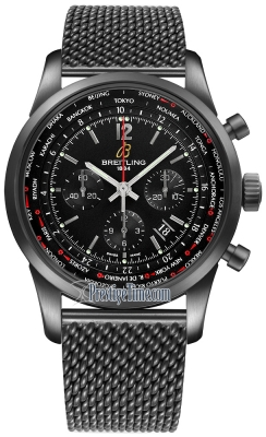 Breitling Transocean Chronograph Unitime Pilot mb0510u6/bc80-ss BLACKSTEEL
